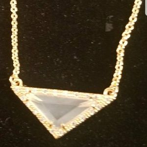 14K Plated Necklace with Sandstone and CZ Accent